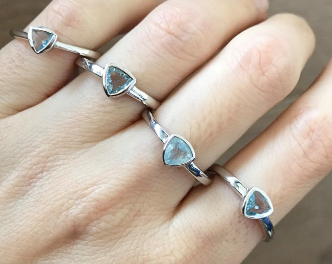Aquamarine Ring Natural Genuine Triangle Shape Boho Sterling Silver