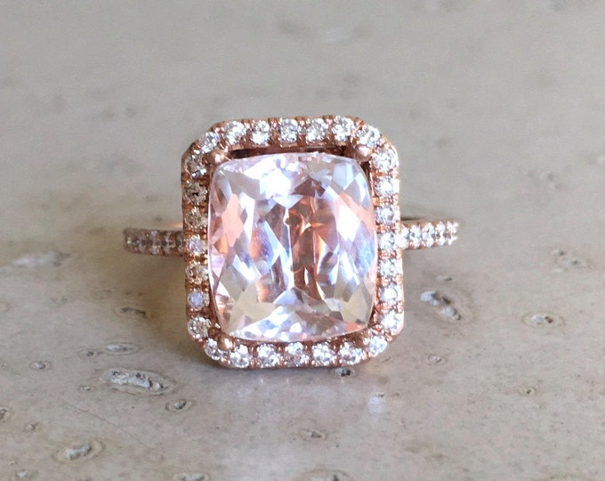 Emerald Shape Morganite Engagement Ring- Rose Gold Large Morganite Ring- Rectangle Solitaire Ring- Halo Diamond Morganite Cocktail Ring