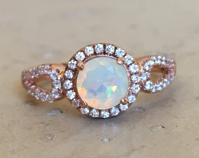 Opal Round Split Engagement Deco Women Ring- 0.70ct Fire Opal Genuine Promise Ring for Her- Ethiopian Welo Opal Solitaire Ring- October Ring