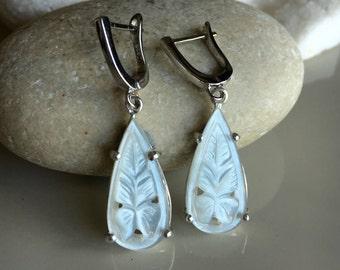Moonstone Earring Sterling Silver Bridal Teardrop Dangle Drop Handmade