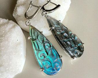 Labradorite Earring Silver Blue Green Raw Labradorite TearDrop Long Dangle Earring Boho Iridescent Jewelry