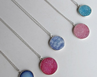 Druzy Necklace Silver Simple Round Boho Blue Druzy Layering Raw Rough Stone Necklace