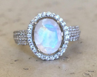 Faceted Moonstone Engagement Ring- Rainbow Moonstone Promise Ring- Oval Halo Wedding Bridal Ring- Moonstone Statement Ring for Her