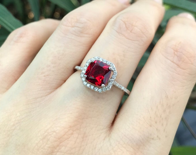 Ruby Princess 1ct Halo Engagement Ring- Square Red Ruby Promise Ring For Her-Red Gemstone Anniversary Solitaire Ring-July Birthstone Ring