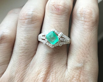 Emerald Engagement Ring- Halo Emerald Promise Ring- Green Engagement Ring- Sterling Silver Emerald Ring- May Birthstone Ring