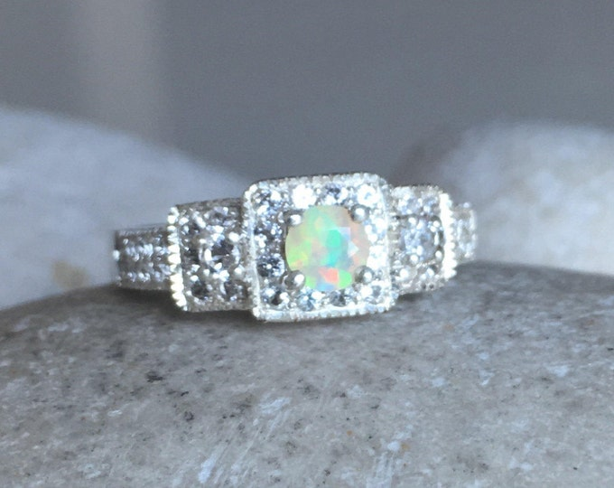 Opal Vintage Engagement Dainty Ring- Natural Welo Ethiopian Opal Promise Ring- Three Stone Anniversary Ring- October Birthstone Ring