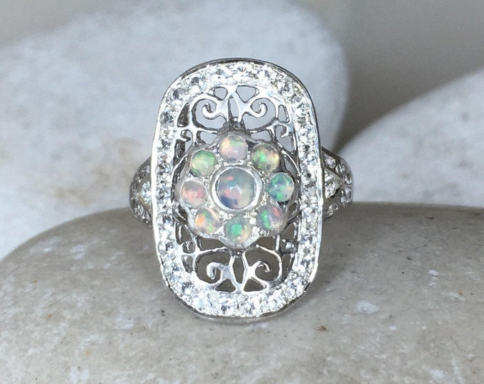 Genuine Opal Filigree Vintage Inspired Ring- Opal Vertical Swirl Edwardian Ring- Unique Opal Statement Ring for Her-Fire Opal Solitaire Ring