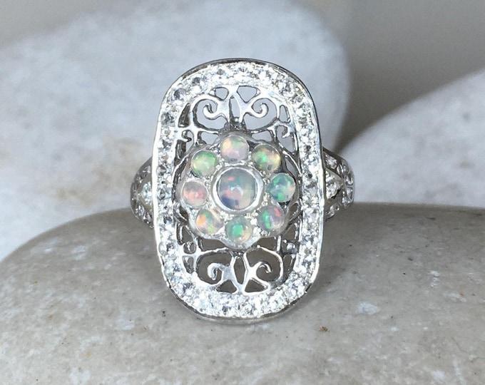 Opal Edwardian Filigree Vintage Opal Engagement Ring Vertical Swirl Ring