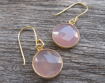 Round Faceted Pink Earring- Rose Quartz Dangle Earrings- Pink Drop Earring- Pink Quartz Earring- Pink Topaz Earring-Bridesmaids Earring