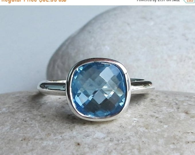40% OFF SALE Swiss Blue Topaz Ring- Blue Gemstone Stackable Ring- December Birthstone Ring-Square Shape Ring-Simple Cushion Cut Ring- Someth