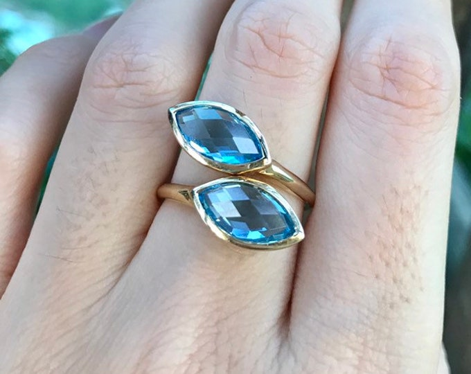 Swiss Blue Topaz Dual Two Stone Ring- 14k Gold Blue Topaz Marquise Rose Cut Ring- December Birthstone Gold Ring- Mothers Birthstone Ring
