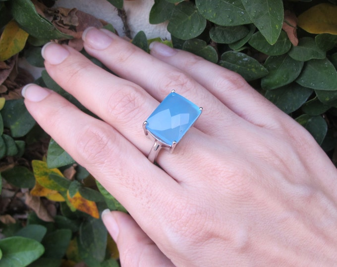 Blue Chalcedony Statement Ring- Blue Gemstone Solitaire Ring- Rectangle Shape Stone Ring- Unique Sterling Silver Ring- Minimalist Blue Ring