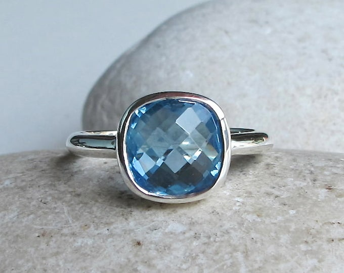 Swiss Blue Topaz Ring- Blue Gemstone Stackable Ring- December Birthstone Ring-Square Shape Ring-Simple Cushion Cut Ring- Something Blue Ring