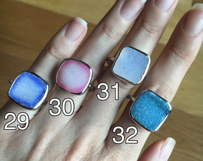Blue Druzy Ring All Sizes Custom Sizing Size 9 Size 10 Boho Statement Ring Purple Druzy Ring White Druzy Ring