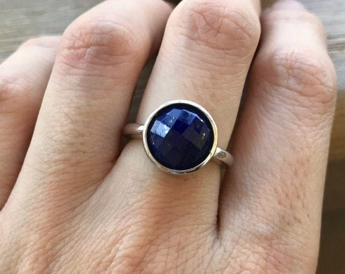 Silver Sterling Lapis Lazuli Ring- Stack Round Ring December Birthstone Ring- Blue Gemstone Ring- Faceted Minimalist Boho 925 Silver Simple