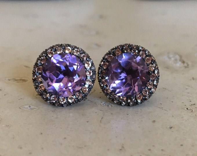 Large Purple Amethyst Stud Earring- Round Amethyst Halo Black Earring- Bold Statement Stud Earring- February Birthstone Earring