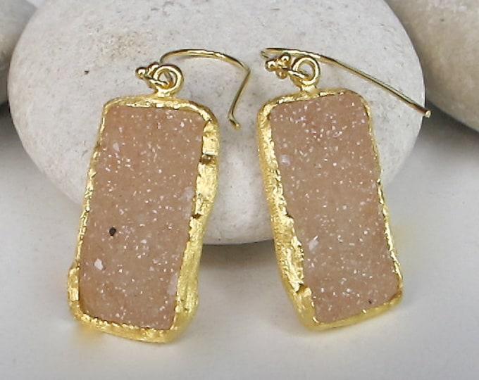 Gold Druzy Rectangle Drop Earring- Raw Crystal Dangle Earring- Boho Rough Gemstone Drop Earring-  Minimalist Handmade Statement Earring