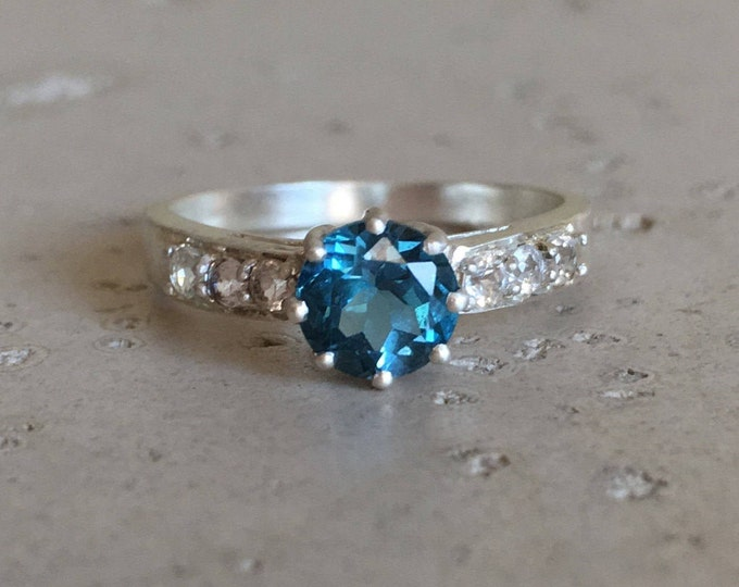 London Blue Topaz Engagement Ring- Dark Blue Promise Ring- December Birthstone Ring- Solitaire Anniversary Ring- Woman Engagement Ring