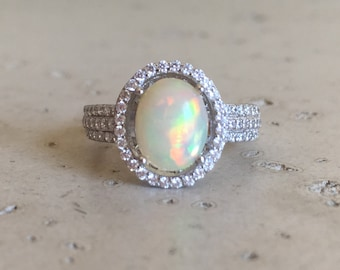 Fiery Opal Engagement Ring- Oval Opal Promise Ring- Opal Bridal Wedding Ring-Halo Genuine Opal Ring-Sterling Silver Ring-Opal Statement Ring