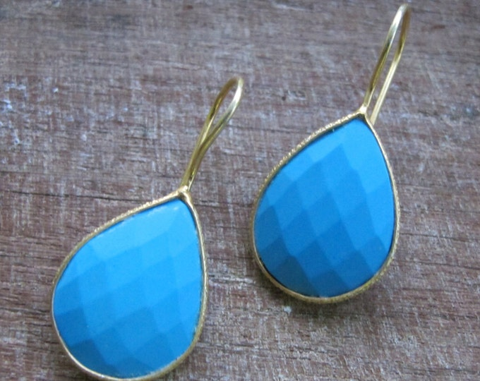 Bohemian Turquoise Dangle Earring- Tear Drop Earring- Blue Gemstone Earring- Pear Shape Turquoise Earring- December Birthstone Earring