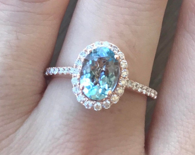 1ct Oval Aquamarine Rose Gold Ring- Aquamarine Diamond Engagement Ring- Halo Promise Ring for Her- 14k Rose Gold Anniversary Ring