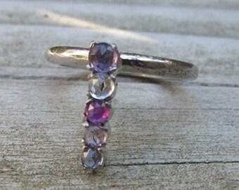 Cluster Multi-Colored Sapphire Bar Gemstone Ring September Birthstone Ring Boho Minimal Ring
