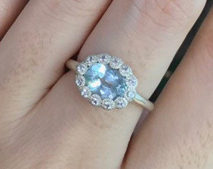 Oval Aquamarine Halo Engagement Ring- 8x6mm Blue Aquamarine Promise Ring- Genuine Aquamarine Anniversary Ring- March Birthstone Ring