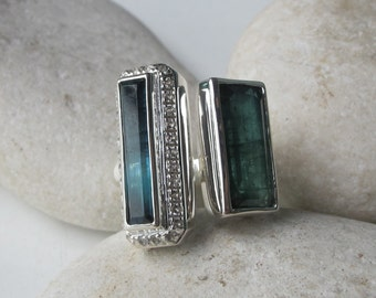 Green Blue Tourmaline Open Double Bar Adjustable Statement Rectangle Ring