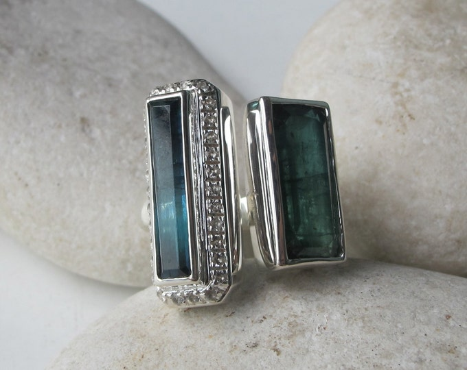 Green Blue Tourmaline Statement Ring- Two Stone Rectangle Ring- Large Dual Bi Color One of A Kind Ring- Contemporary October Birthstone Ring