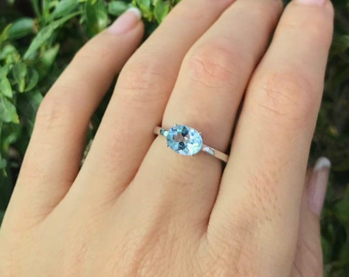 Light Blue Topaz Oval Ring- Genuine Blue Topaz Stack Prong Dainty Ring- December Birthstone Ring- Blue 4 Prong Simple Ring- East West Ring