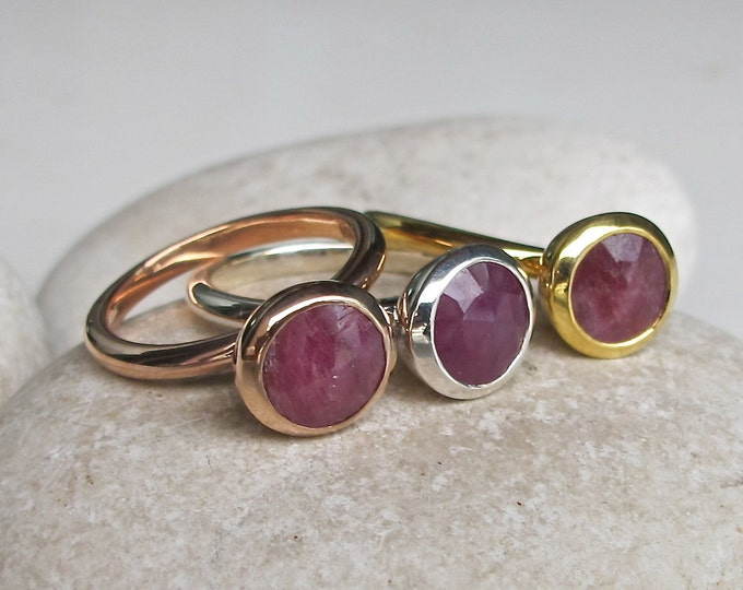 Raw Ruby Round Promise Ring For Her- Simple Ruby Engagement Ring- Red Stackable Genuine Ruby Ring- Rose Gold Ring- July Birthstone Ring