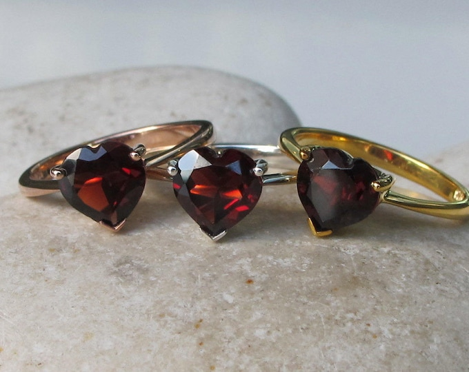 Heart Garnet Promise Ring for Her- Heart Shape Engagement Ring- Genuine Garnet Anniversary Prong Silver Ring- Valentine Gifts for Her