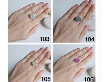 Sky Blue Druzy Ring- Pink Druzy Ring- Round Ring- Stack Ring- Quartz Ring- Topaz Ring- Statement Ring