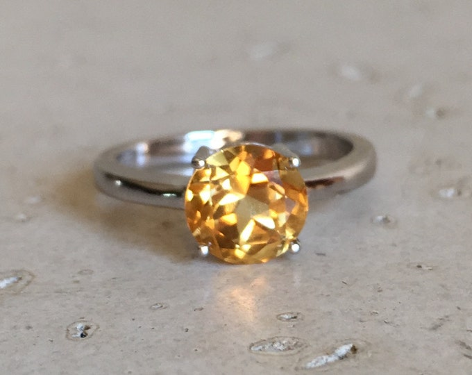 Citrine Ring in Sterling Silver Natural Simple Round 4 Prong