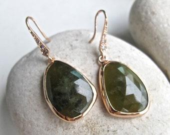 Raw Dark Green Sapphire Drop Earring- Rose Gold Raw Dangle Earring- Rough Green Stone Earring- September Birthstone Unique Earring