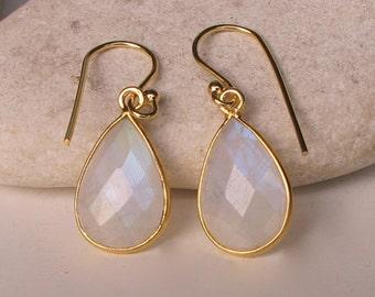 Dainty Rainbow Moonstone Dangle Earring- Faceted Pear Shaped Moonstone Earring- Rainbow Drop Simple Gold Earring- June Birthstone Earring