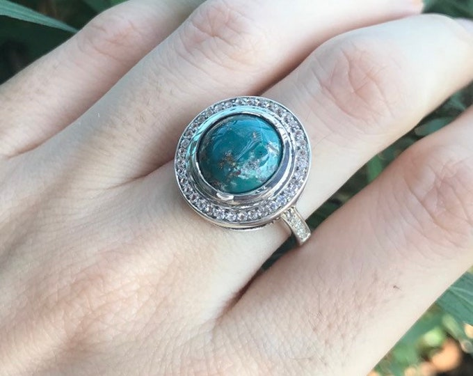 Blue Green Turquoise Solitaire Ring- Genuine Turquoise Halo Engagement Ring- Round Cabochon Statement Gemstone Ring-December Birthstone Ring