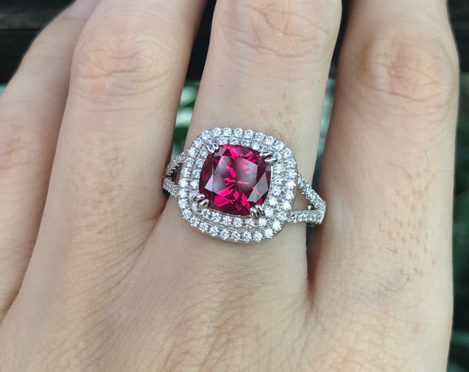 1.60ct Ruby Cushion Halo Engagement Ring- Square Ruby Split Double Ring- Large Red Ruby Promise Ring-Solitaire Ruby Anniversary Ring for Her