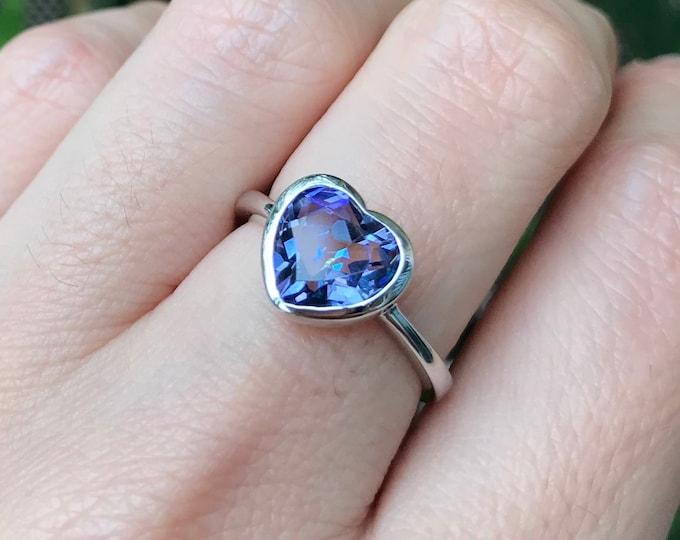 Mystic Topaz Heart Ring- Heart Shape Promise Ring- Heart Gemstone Sterling Silver Ring- Heart Engagement Ring for Her- Stackable Heart Ring