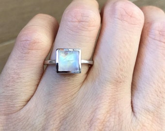Simple Square Shape Moonstone Ring Silver Sterling Boho Moonstone Ring