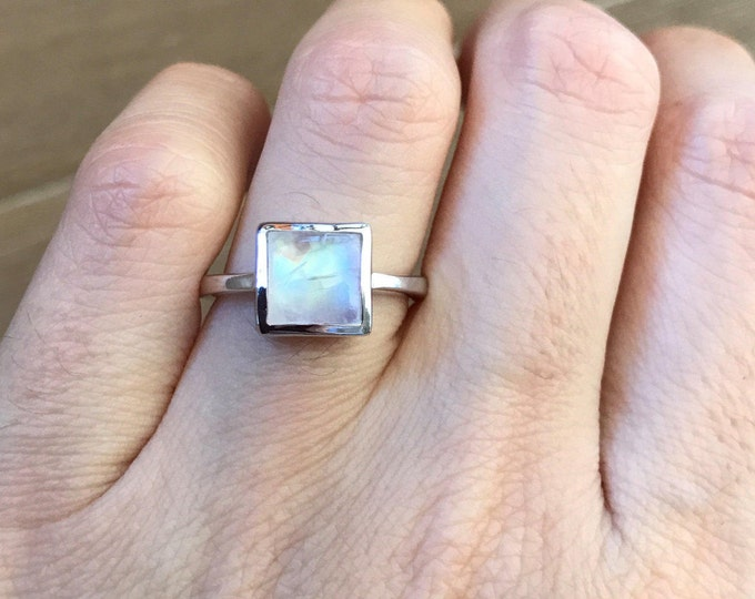 Simple Square Shape Moonstone Ring Silver Sterling Boho Moonstone Ring