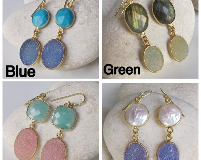 Pink Druzy Earring- Gemstone Earring- White Quartz Earring- Statement Earring- White Topaz Earring- Quartz Earring- Topaz Earring- Earring