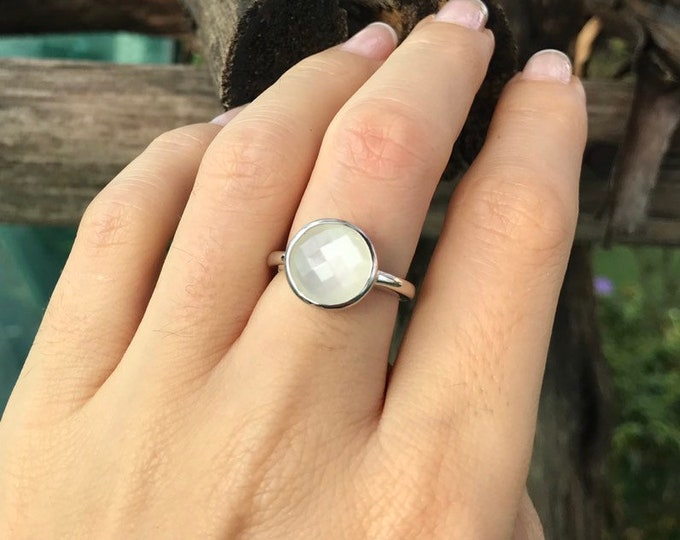 Faceted White Moonstone Ring- Solitaire Round Moonstone Ring- White Stone Promise Ring- June Birthstone Ring- Jewelry Gifts for Her