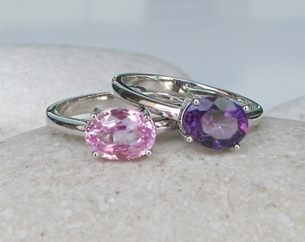 October February Birthstone Ring- Pink Purple Stack Ring- Pink Topaz Amethyst Ring Set- Mothers Family Ring Set- 2 Bright Oval Silver Ring