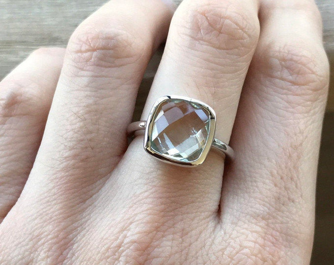 Green Amethyst Ring in Sterling Silver Square February Birthstone Ring Green Gemstone Ring Solitaire Simple Amethyst Ring