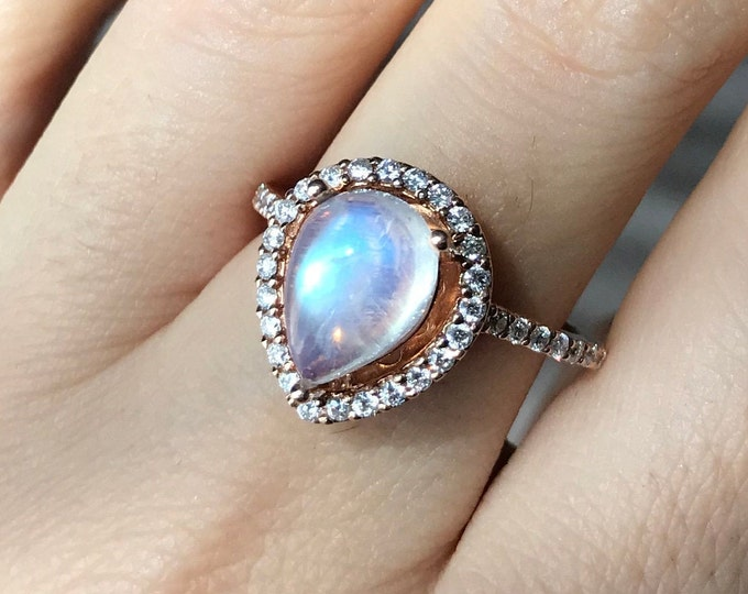 2ct Large Moonstone Pear Halo Engagement Ring- Teardrop Moonstone Cabochon Solitaire Ring- White Yellow Rose Gold Anniversary Moonstone Ring