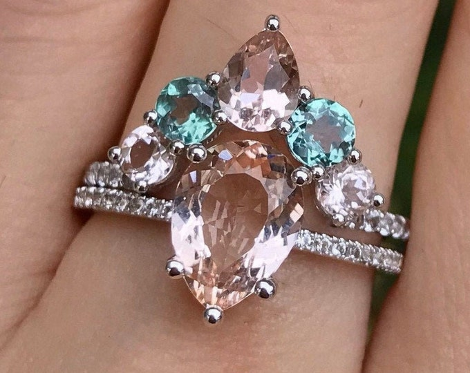 Genuine Pear Morganite Alexandrite Engagement 2 Ring Set- Teardrop Color Gemstone Bridal Ring with Matching Band 14k 18k