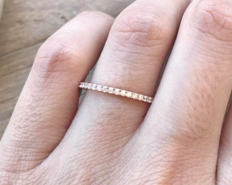 Rose Gold Thin Band- Dainty Womens Wedding Band- Cubic Zirconia Eternity Band- Stackable Wedding Band- Classic Wedding Band
