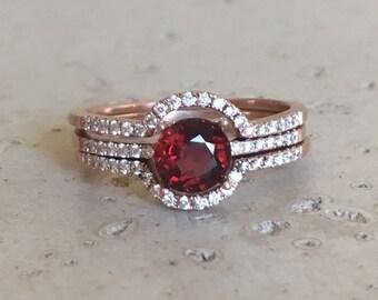 Round Garnet Engagement Ring Set- Garnet Rose Gold Bridal Ring Set- Red Alternative 3 Piece Ring Set- Garnet Four Prong Faceted Woman Ring