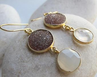 Brown Druzy Dangle Gold Earring- Boho Statement Drop Earring- Mixed Rough Stone Earring- Raw Stone Double Drop Earring- Long 2 Stone Earring